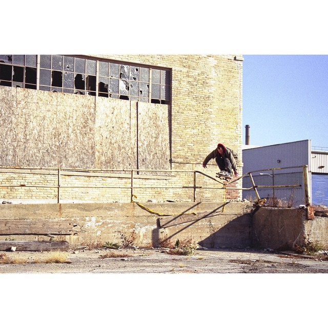 Here's an old pic I shot of @btvance doing an ollie in the Menomonee Valley.  2002?  #wiskate #milwaukeeskateboarding