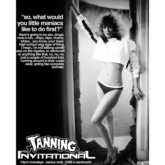 @awaywardpiz just reminded me of the best flyer I ever made for anything.  Tanning Invitational, my dj night no one ever came to.  #wetried #waxonthenipples #kellylebrock
