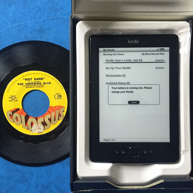 The thrift gods giveth - brand new Kindle & Shocking Blue 45, $8.71 #hoarding