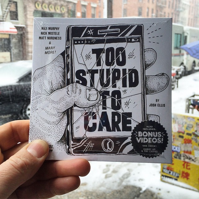 I'm very excited to announce that the Too Stupid to Care DVD is now available @laborskateshop in NYC.  Only $10, also includes VHS (2014) and Hurry up and Try (2013). We will have copies in the Midwest very soon!! #toostupidtocare #wiskate