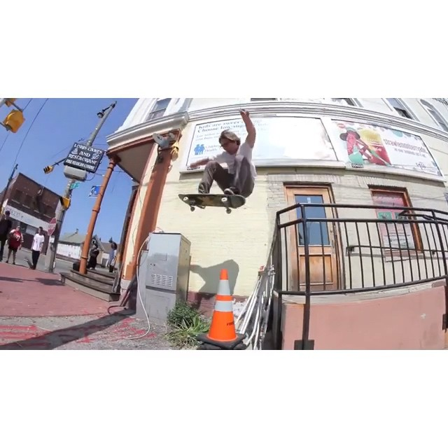 "The title of this video is ""Bump 2 Bar"", starring @naughtiernordy #wiskate #milwaukeeskateboarding #bump2bar"