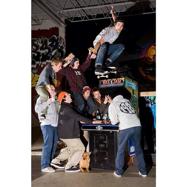 Quite a collection of pimps in this photo.  Pat Murphy jumps the jam.  Trivia/goofs: they were actually playing the game when the photo was shot.  @creamcity @naughtiernordy @_jockjams_ @jnco_jeans @bradfordbishop #hank #shits @patboyles #stella