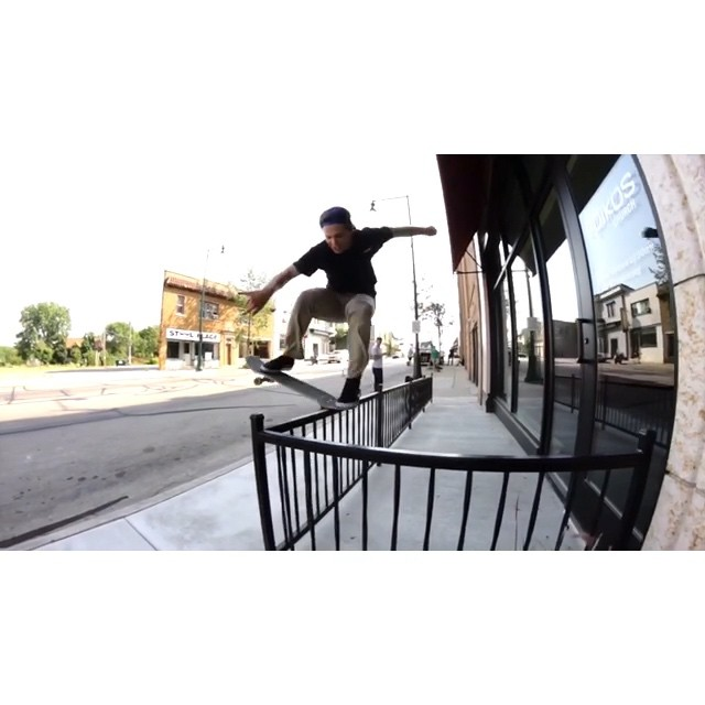 "The title of this video is ""Bump 2 Bar 2"" starring @naughtiernordy #wiskate #milwaukeeskateboarding #bump2bar"